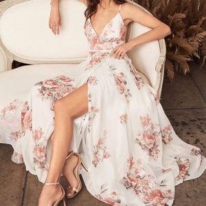 Lulus Elegantly Inclined Boho Floral Wrap Dress, M